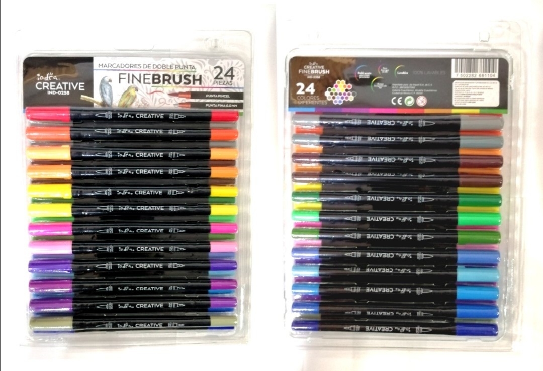24 ROTULADOR ES DOBLE PUNTA CREATIVE FINE BRUSH IND 0258 01181